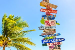 caribbean shipping destinations sign