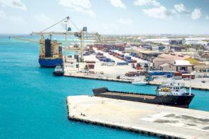 caribbean shipping dockyard scene